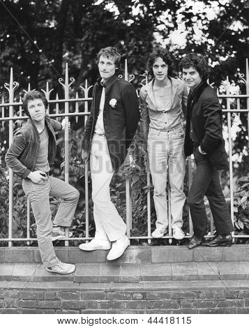 LONDON - AUGUST 20: The Boyfriends, British power pop group, pose before a live performance on August 20, 1978 in London. L-R Chris Skornia, Patrick Collier, Steve Bray, Mark Henry.