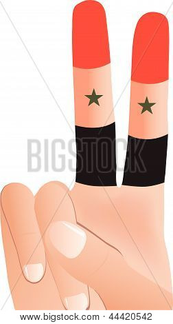 EPS Vector 10 of male hand gesturing peace sign in Syrian Flag