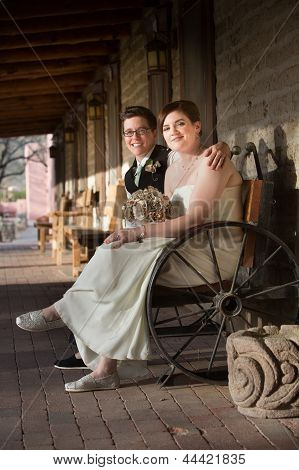 Happy Couple On Bench