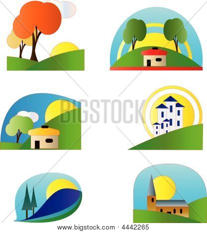 Colorful Country Set