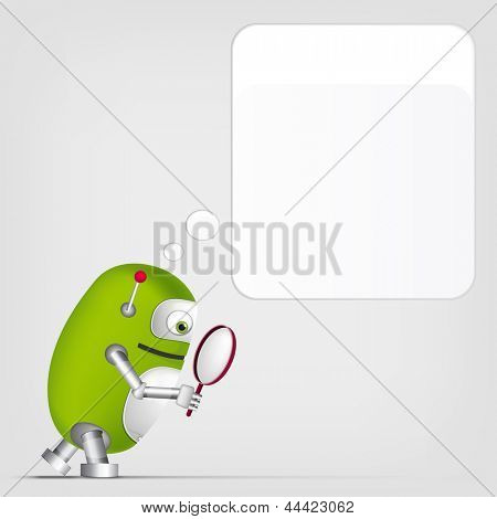 Cartoon Character Cute Robot on Grey Gradient Background. Search. Vector EPS 10.