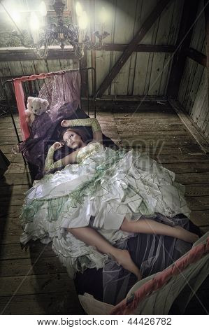 Beauty Women In Dress Lying In The Bed