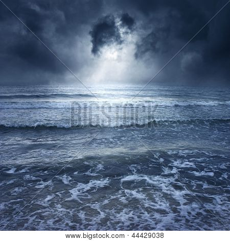 Blue Storm Sea - With Thunder