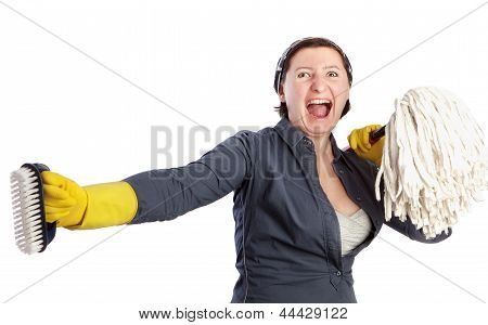A Woman With A Mop Screams Dissatisfied Housewife.