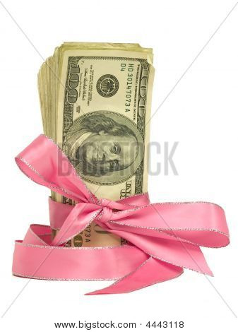 Money Tied In Pink Ribbons