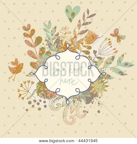 Vintage card in vector made of flowers and butterflies. Retro floral composition with a textbox. Stylish background in ocher colors