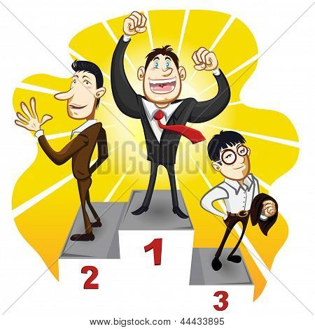 Business Podium With The Winner Businessman Champion