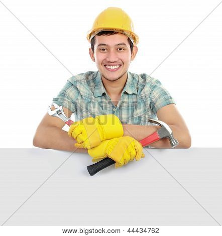 Happy Worker And Blank Board