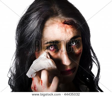 Tearful Woman With Injuries