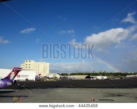 Rainbow Over Hawaiian Airlines Section Of The Honolulu International Airport