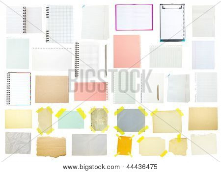 collection of old note paper on white background.