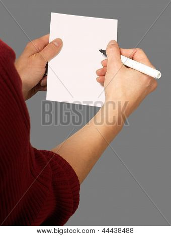 Woman With Chit And Pen