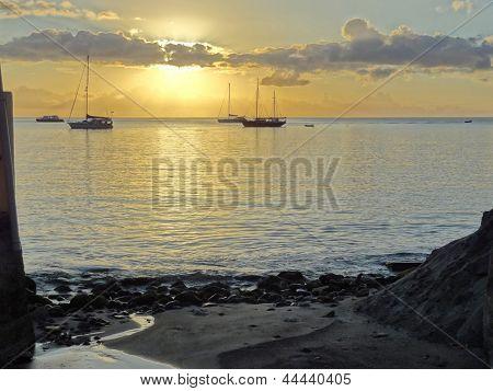 Coastal Evening Scenery At Guadeloupe