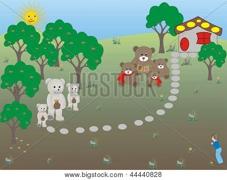 Happy family bears