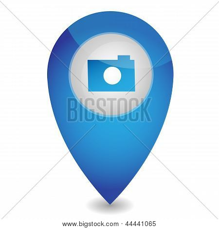 Map pointer with camera, vector illustration