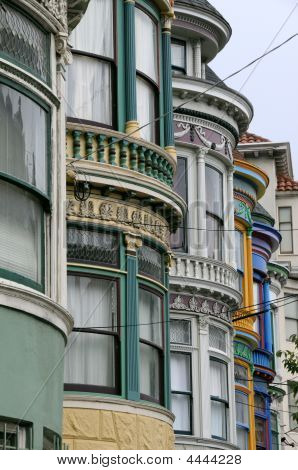 Bow Windows Of Colorful Victorian Homes In San Francisco