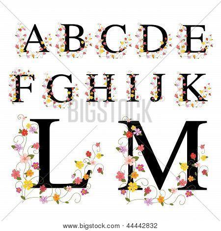 Decorative alphabet A-M