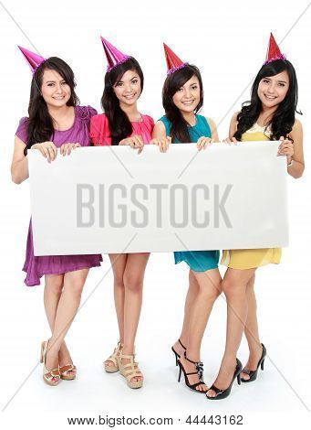 Four Beautiful Girl Holding Blank Board