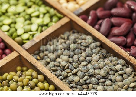 legumes in box abstract with a selective focus on French green lentils, shallow depth of field