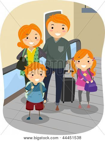Illustration of a Stickman Family riding a Moving Walkway in an Airport