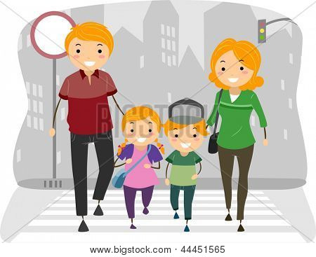 Illustration of a Family Crossing the street on a Pedestrian Lane