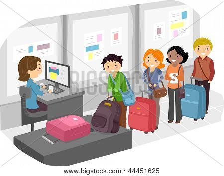 Illustration of People Waiting in Long Line for Luggage Check-In at the Airport
