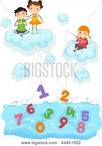 Illustration of Kids on Clouds fishing for Numbers at the Sea