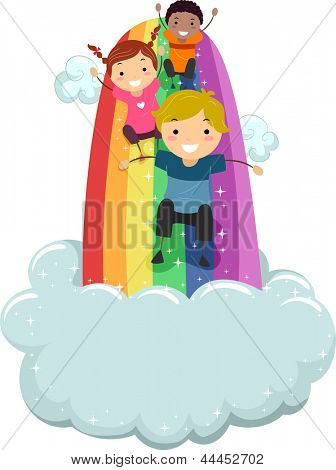 Illustration of Kids sliding on a Rainbow Slide with Clouds