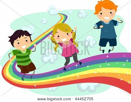 Illustration of Little Kids enjoying their walk on a Rainbow