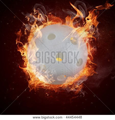 Hot flor-ball in fires flame