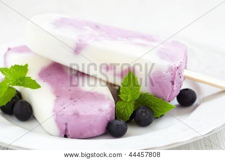 Blueberry yogurt ice cream popsicle