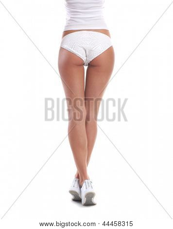 Beautiful and sexy buttocks isolated on white background