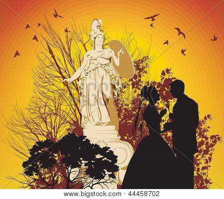 Wedding Couple And The Greek Goddess