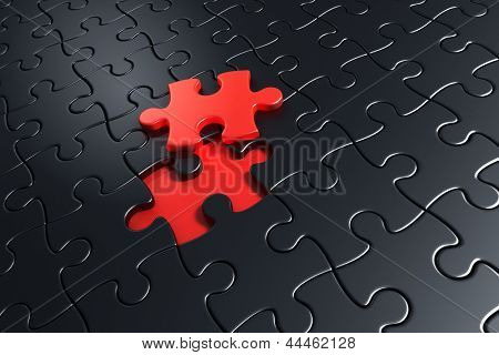 3d rendering of black puzzle pieces with one piece lifted up