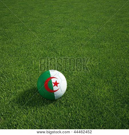 3d rendering of a Algerian soccerball lying on grass