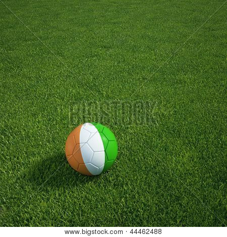 3D-Rendering ein ivorischer Soccerball lying on grass