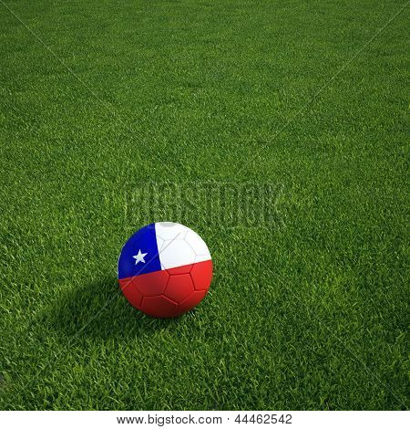 3D Darstellung einer Chilian Soccerball lying on grass