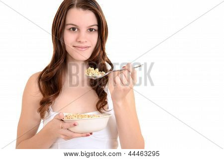 teenager with cereal