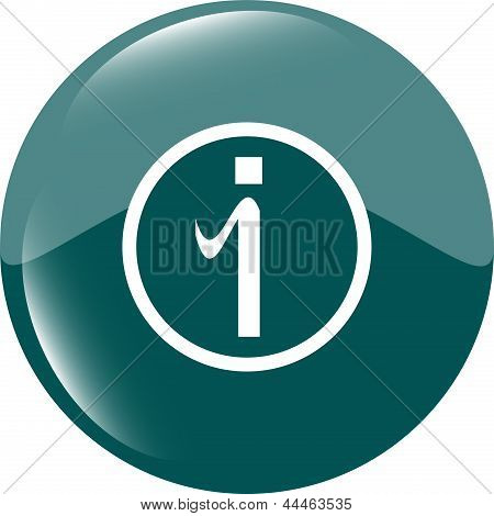 Glossy Web Button With Information Sign. Rounded Shape Icon