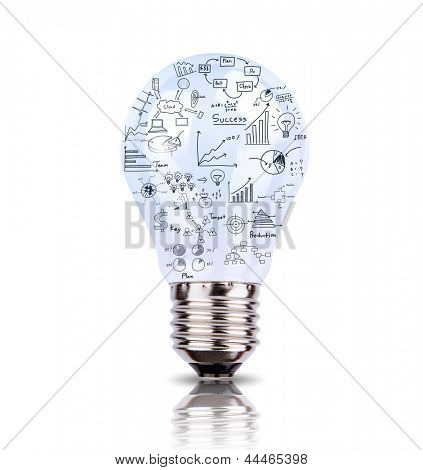 Light bulb with drawing graph inside isolated on white background