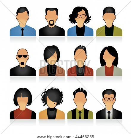 Simple avatar icons of various business people.