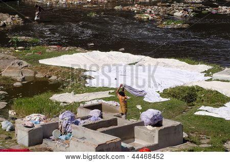 Laundry by Hyderabad river