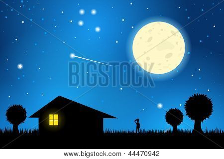 Stargazing On A Moonlit Night