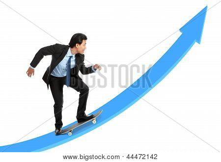 Executive On Skateboard Going Up The Rising Chart
