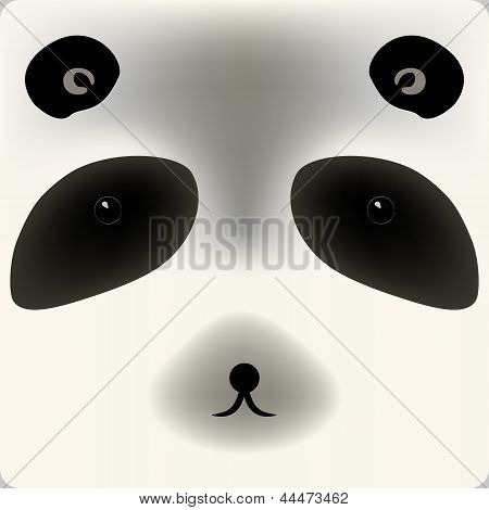 Cute cartoon panda bear face, vector background for a card