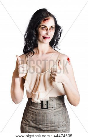 Zombie Woman With Thumbs Up