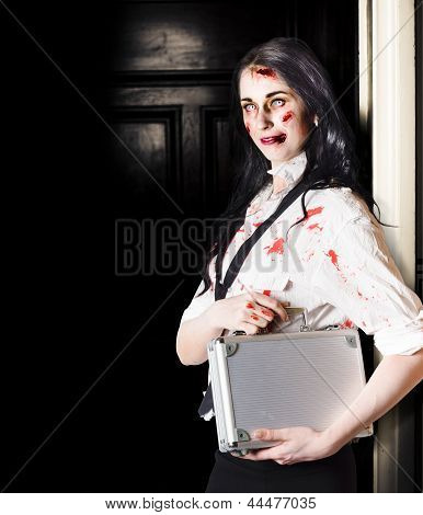 Dead Female Zombie Worker Holding Briefcase
