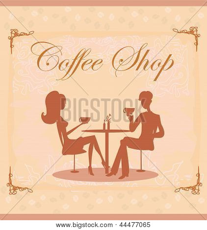 Silhouettes Of Couple Sitting In Cafe