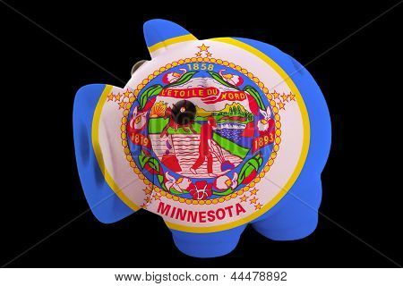 Piggy Rich Bank In Colors Flag Of American State Of Minnesota   For Saving Money