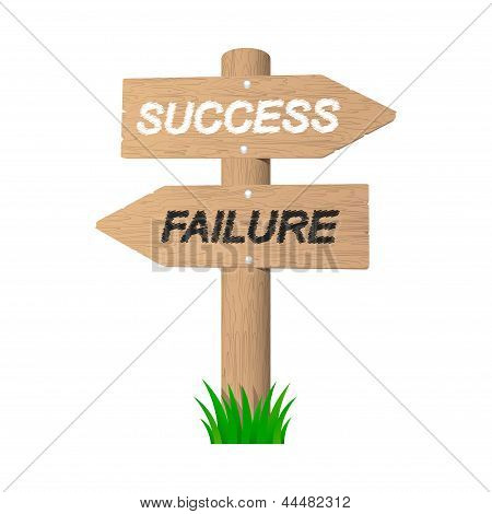 Success And Failure Wooden Signpost. Vector Illustration